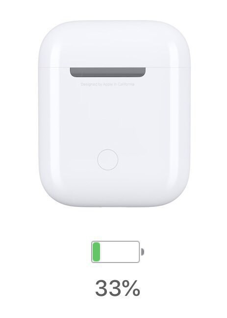 Image of AirPods case battery charge status indicating 33% but whose progress bar appears nearly empty.
